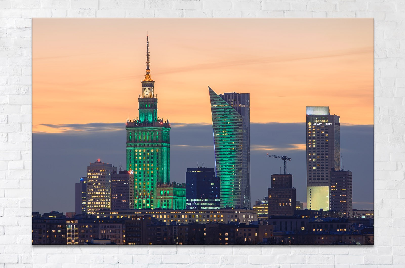 Centrum Warszawy w dzień Świętego Patryka - Fotoobraz