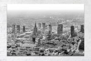 Centrum Warszawy z lotu ptaka BW Fotoobraz