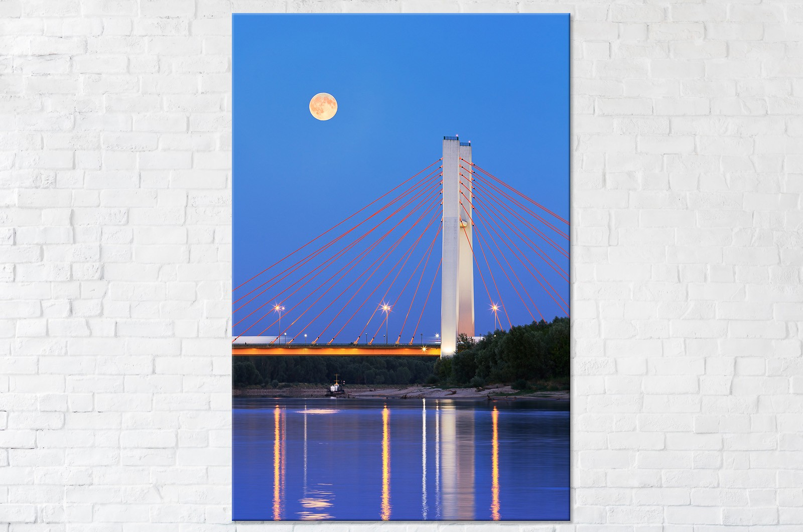 Księżyc nad Mostem Siekierkowskim Fotoobraz