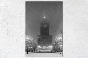 PałacKultury w zimową noc BW Fotoobraz