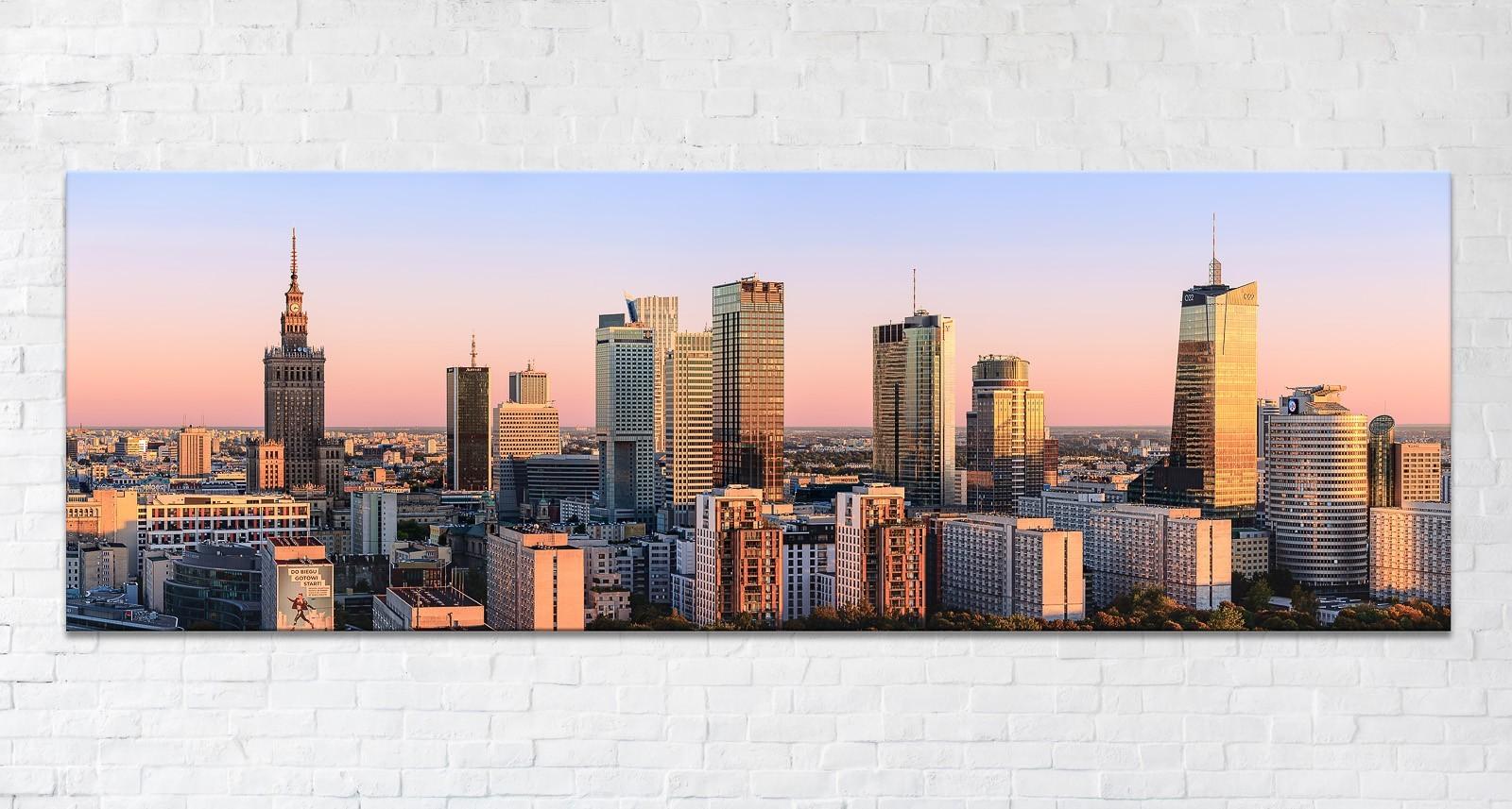 Warszawskie wieżowce o zachodzie Fotoobraz