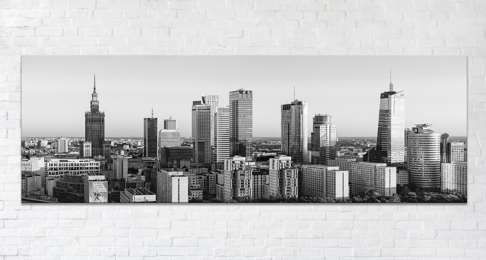 Warszawskie wieżowce o zachodzie BW Fotoobraz