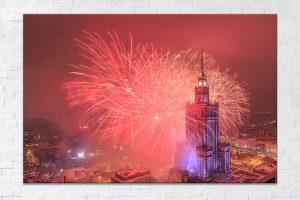 Czerwone fajerwerki podczas finału WOSP fotoobraz