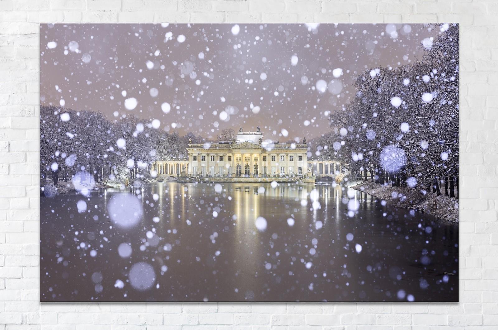 Pałac na Wodzie podczas śnieżycy fotoobraz