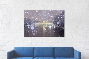 Pałac na Wodzie podczas śnieżycy Wydruki zdjęć Warszawy 1