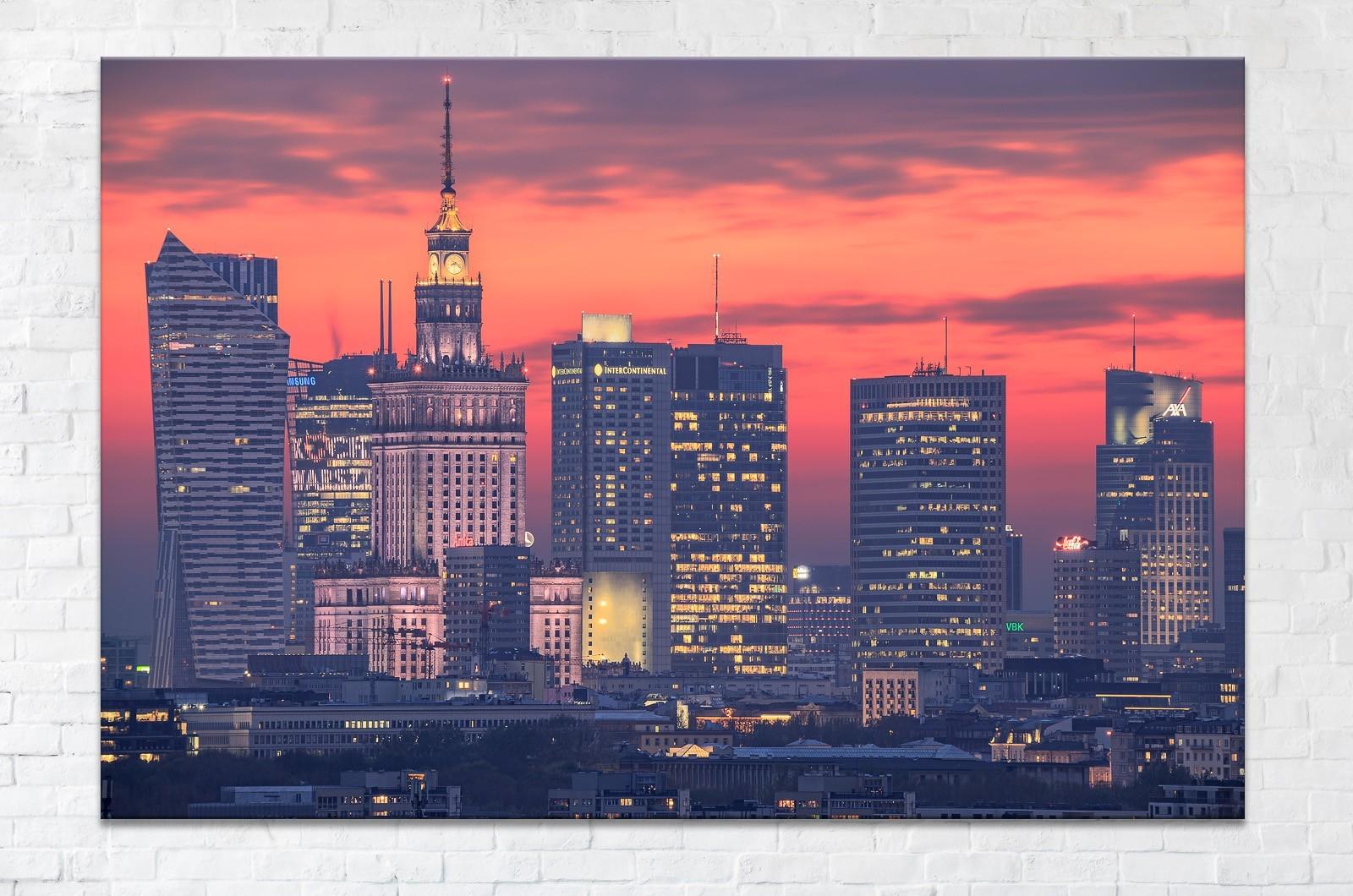 Podświetlone Centrum Warszawy po zachodzie słońca fotoobraz