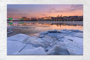 Stare miasto i most śląsko-dąbrowski zimą fotoobraz