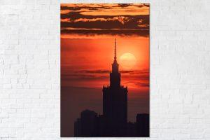 Zachód słońca za Pałacem Kultury fotoobraz