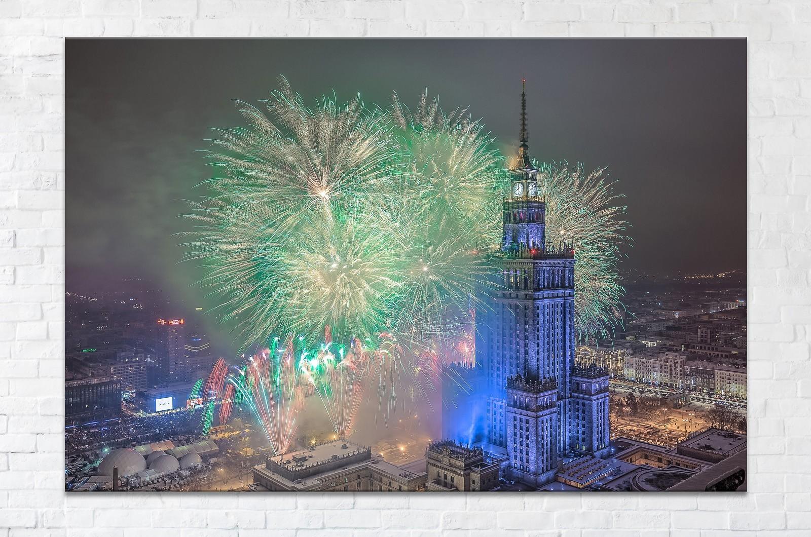 Zielone fajerwerki podczas finału WOSP fotoobraz