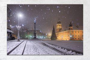 Plac Zamkowy podczas śnieżycy fotoobraz