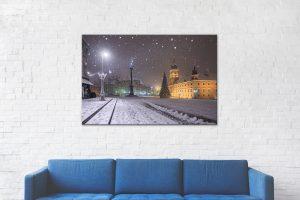 Plac Zamkowy podczas śnieżycy Wydruki zdjęć Warszawy 4